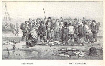 Visafslag op het strand